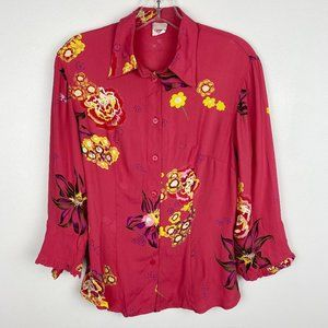 VTG 1960s Pink Ruffle Sleeve Fitted Floral Blouse
